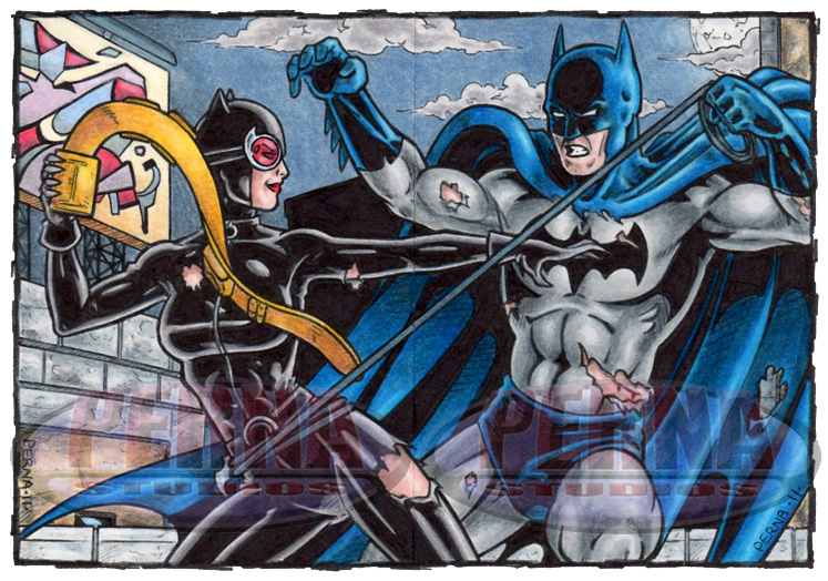 Catwoman Batman Sketch Cards by tonyperna