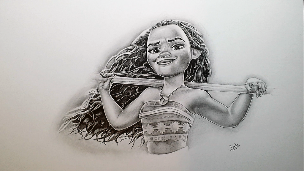Disneys moana graphite pencil drawing by jayswattondrawing