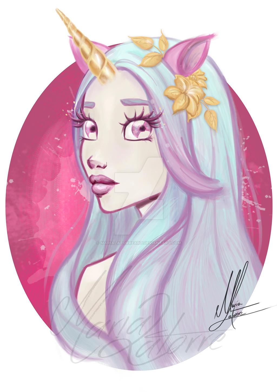 Unicorn Girl Maria Latorre by marialatorreart