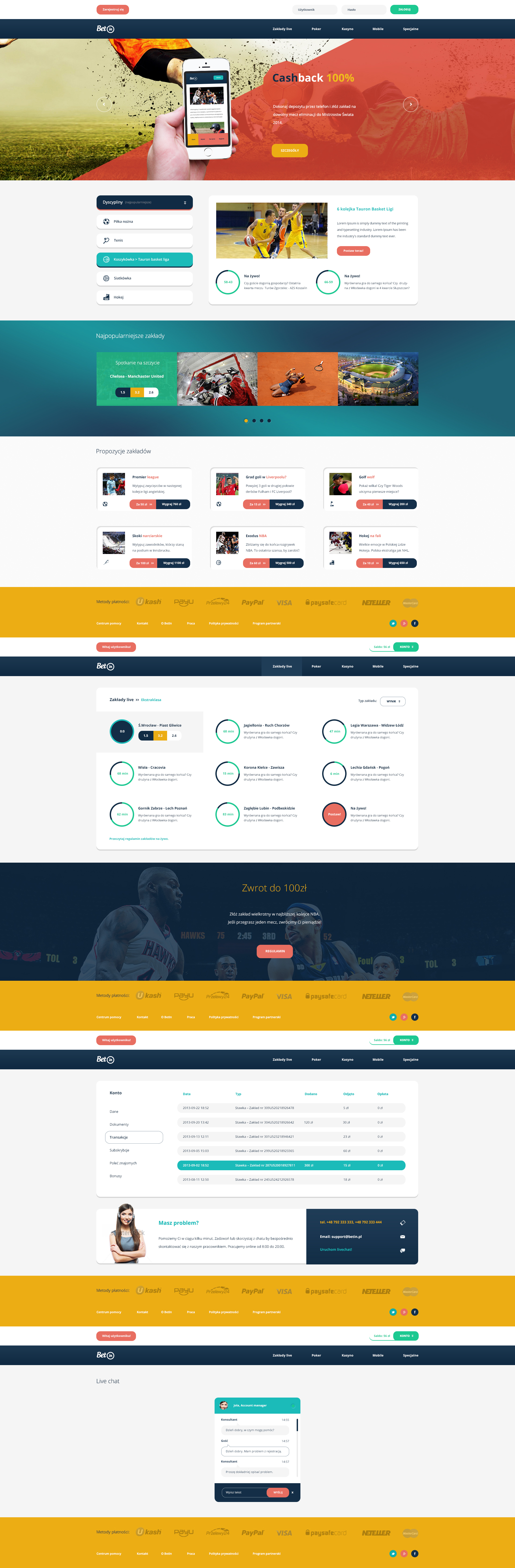 BetIn - web design for online betting/bookmaker