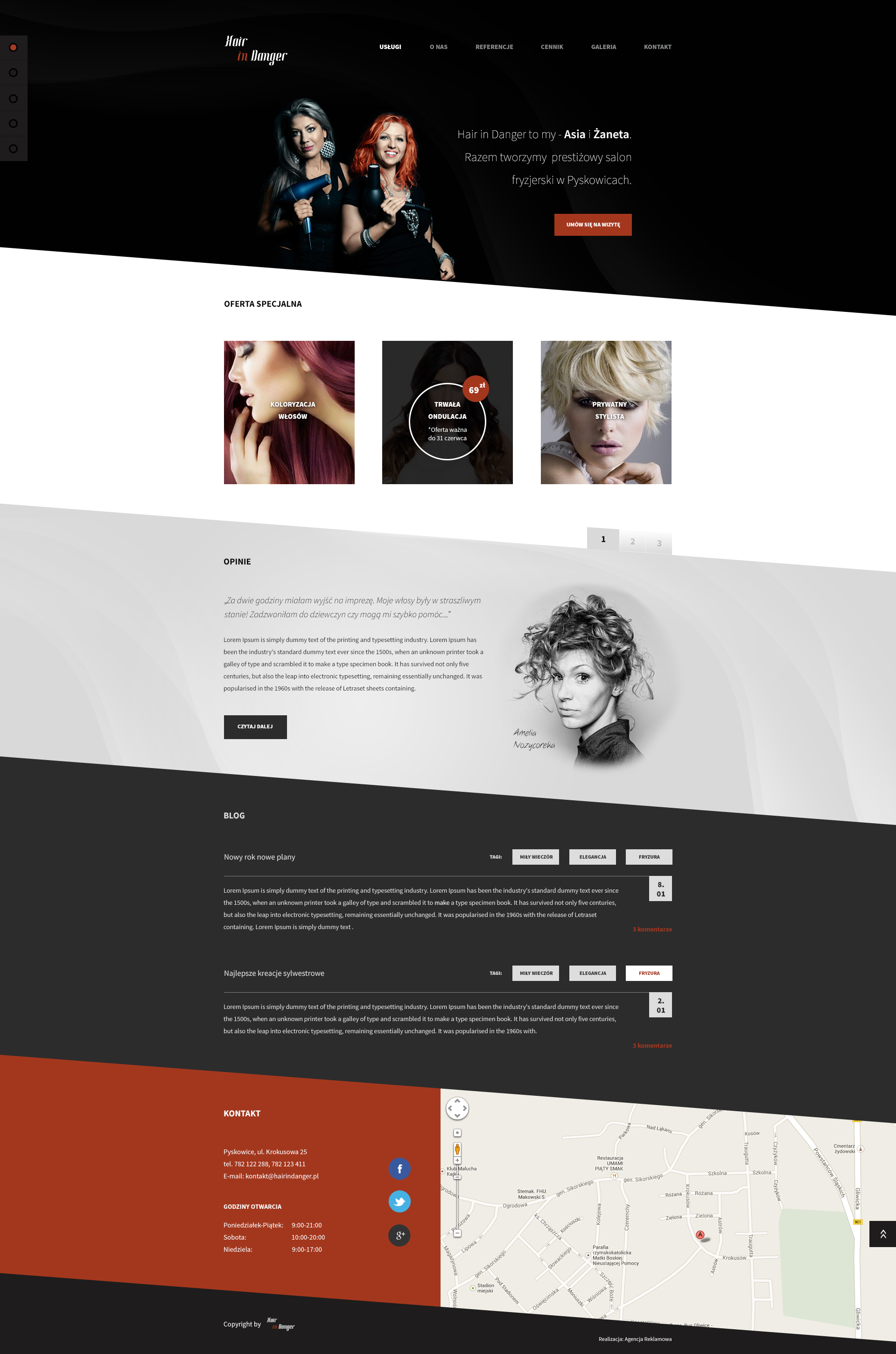 Hair salon Hair in danger Flat Web design by SycylianBeef on ...