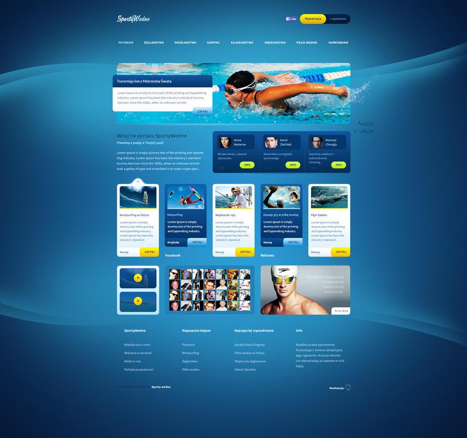 Sportywodne web design for water sports portal by for Portale design