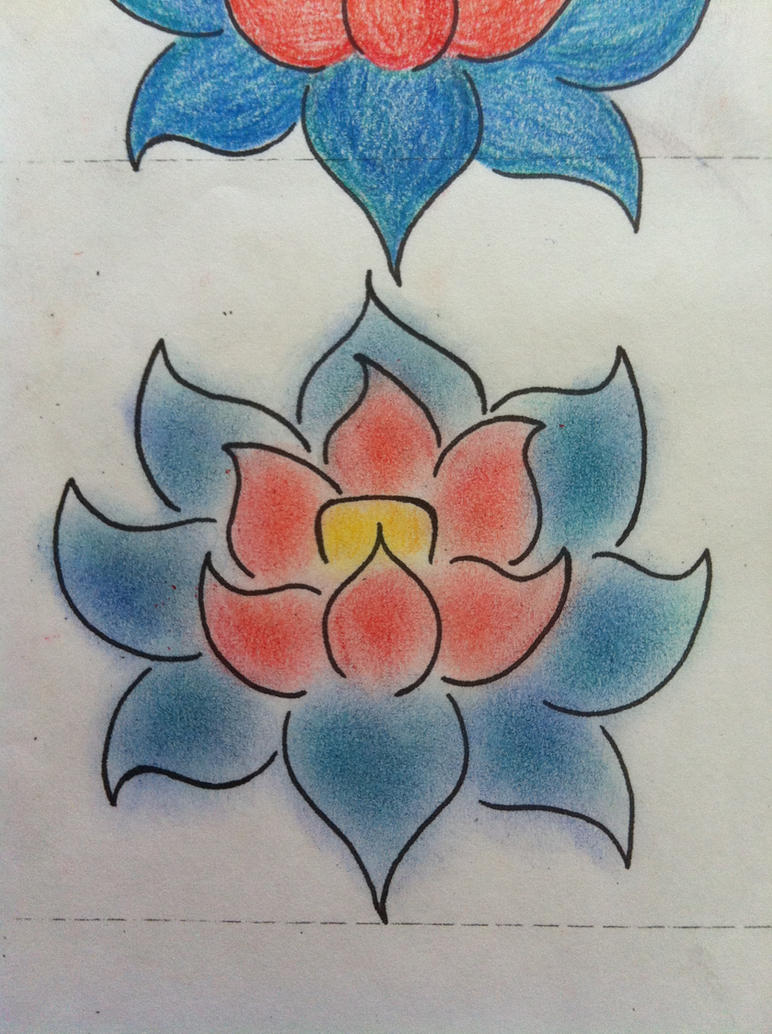 Red Blue Lotus Tattoo Project By Brigimad On Deviantart