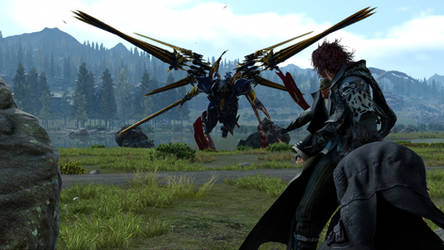 Final Fantasy XV Noctis and Ardyn VS Bahamut by SNColors