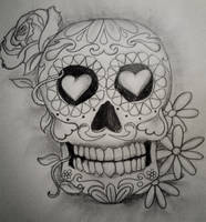 Day of the dead skull by damnedqueen34