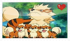 Arcanine and growlithes Stamp by okamiblanco