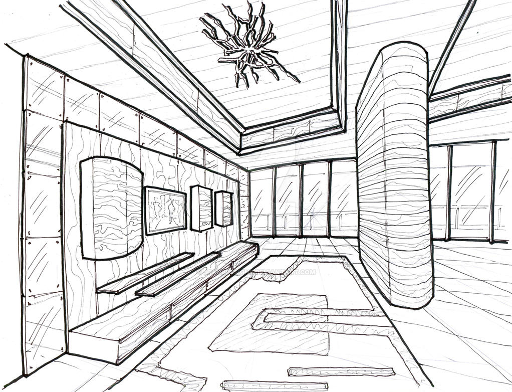 Modern Living Room Perspective Drawing The Image Kid Has It