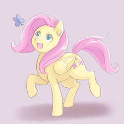 Fluttershy Chasing Butterfly by NinjaHam