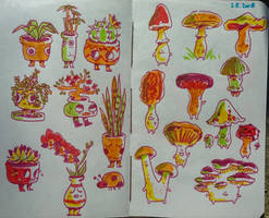 plant and mushroom friends by IvaTheHuman