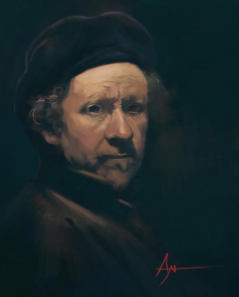 Rembrandt Self Portrait by crazypalette