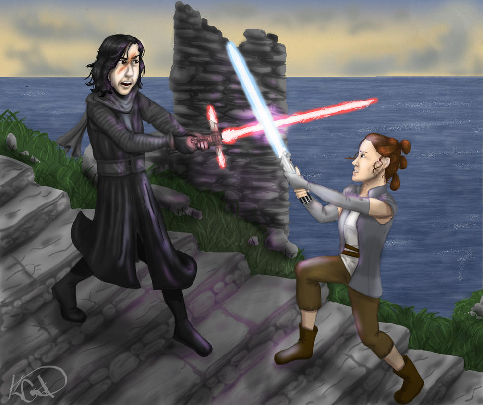 prize art for Swatbot26: Rey vs Kylo Ren by Lantis-Erin