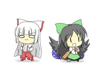 Mokou and Utsuho by DumpShotDan