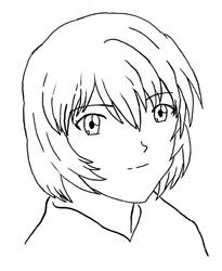 Rei Ayanami lineart by BrentNewhall