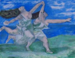Dos mujeres corriendo por la playa by PilarErika