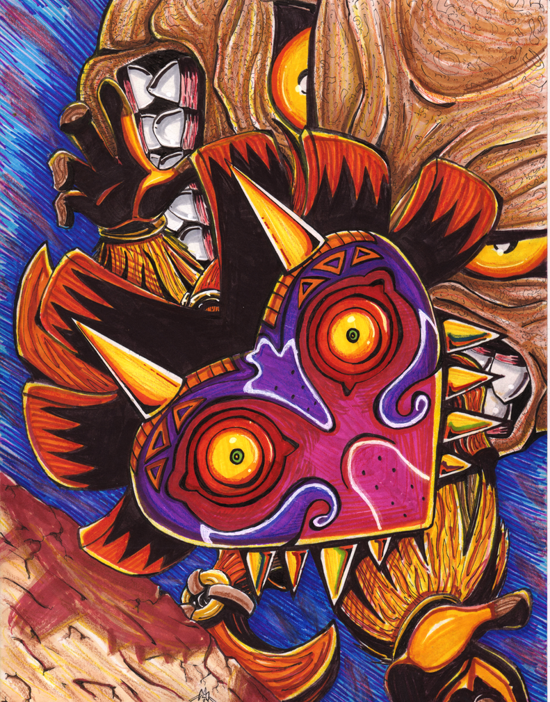 Majoras Mask Print - COLORED by ArwingPilot114