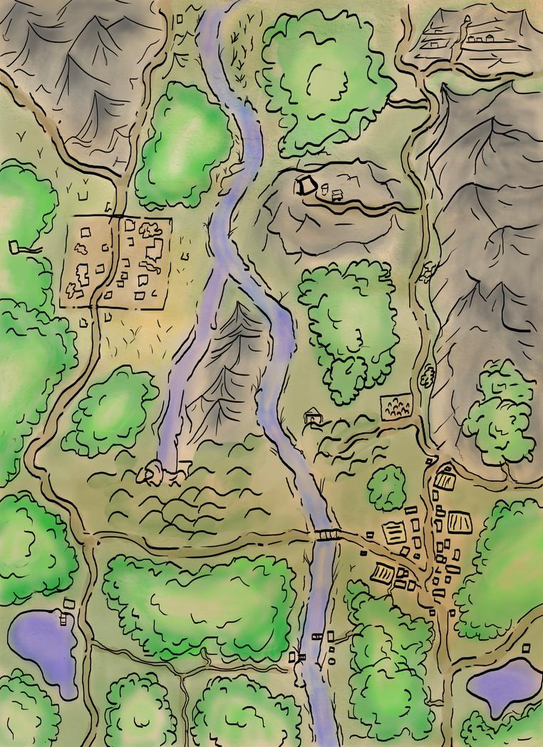 Riverside Fantasy Map by ConfusedTotoro