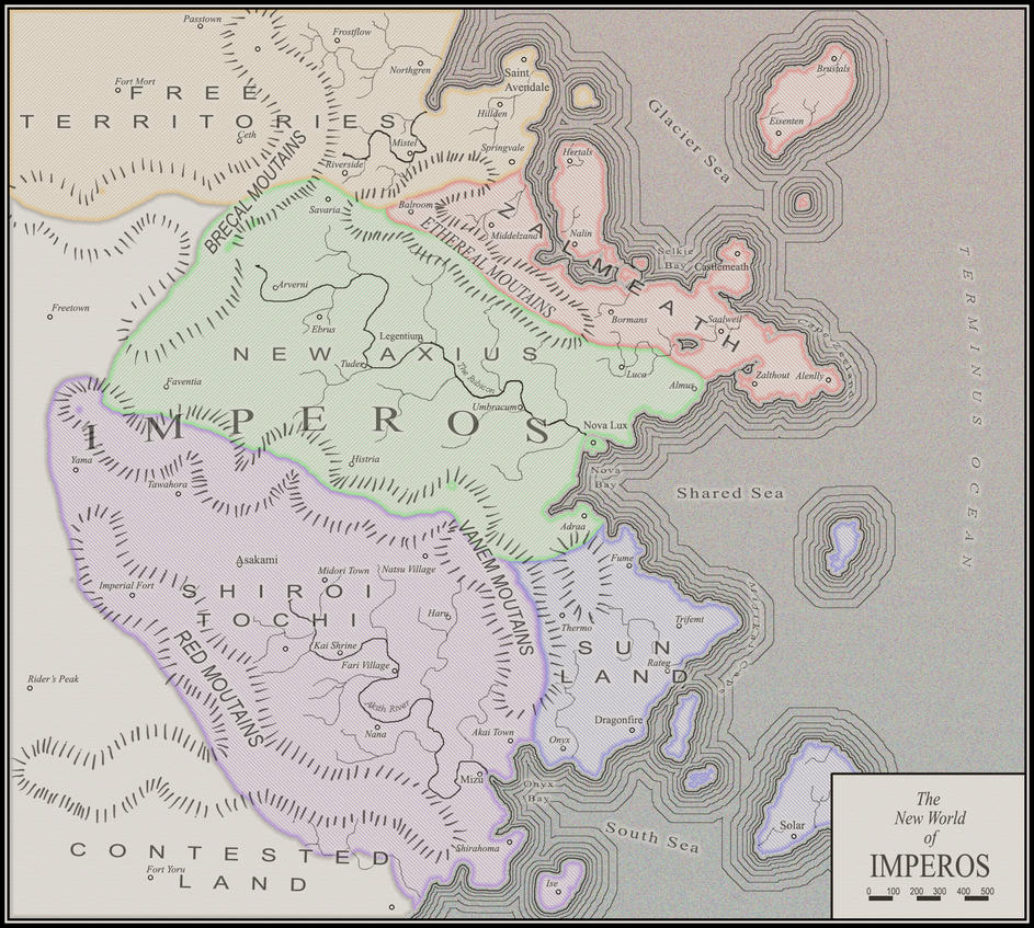 Antique Style Imperos Map by ConfusedTotoro