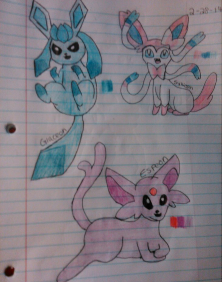 Glaceon, Sylveon, and Espeon by Philalala on deviantART
