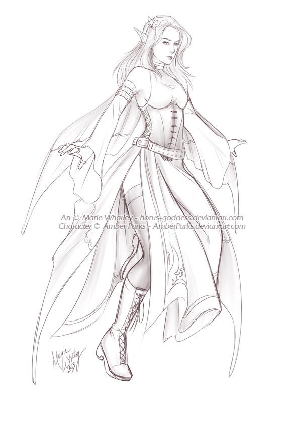 Anime Goddess Sketch Templates