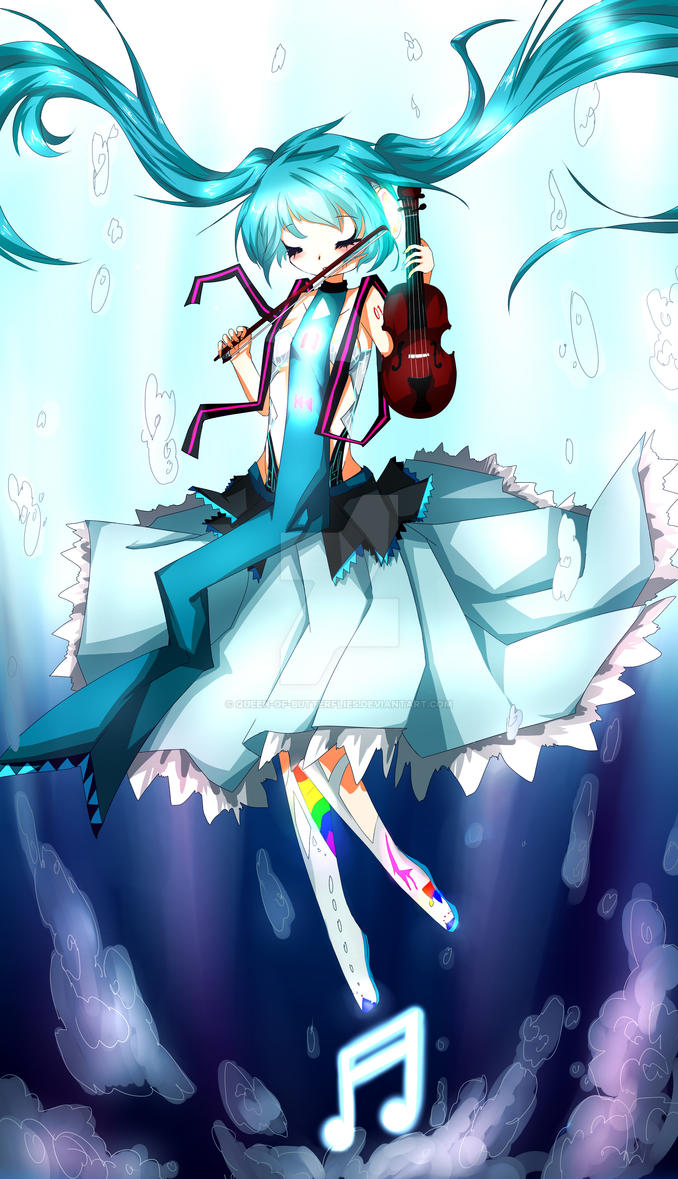 Miku with a violin, underwater by Queen-of-Butterflies