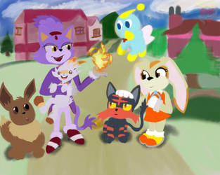 Blazin bunnys and cats by CrazyMates2300
