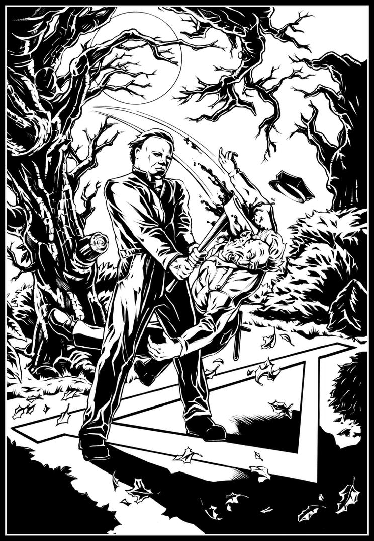 Michael myers halloween pin up by wicked 1 on deviantart Horror coloring book for adults