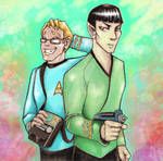 Captain Spock and First Officer Kirk AU by shazam26