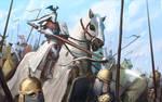 Bretonnian knights charging by morkarr