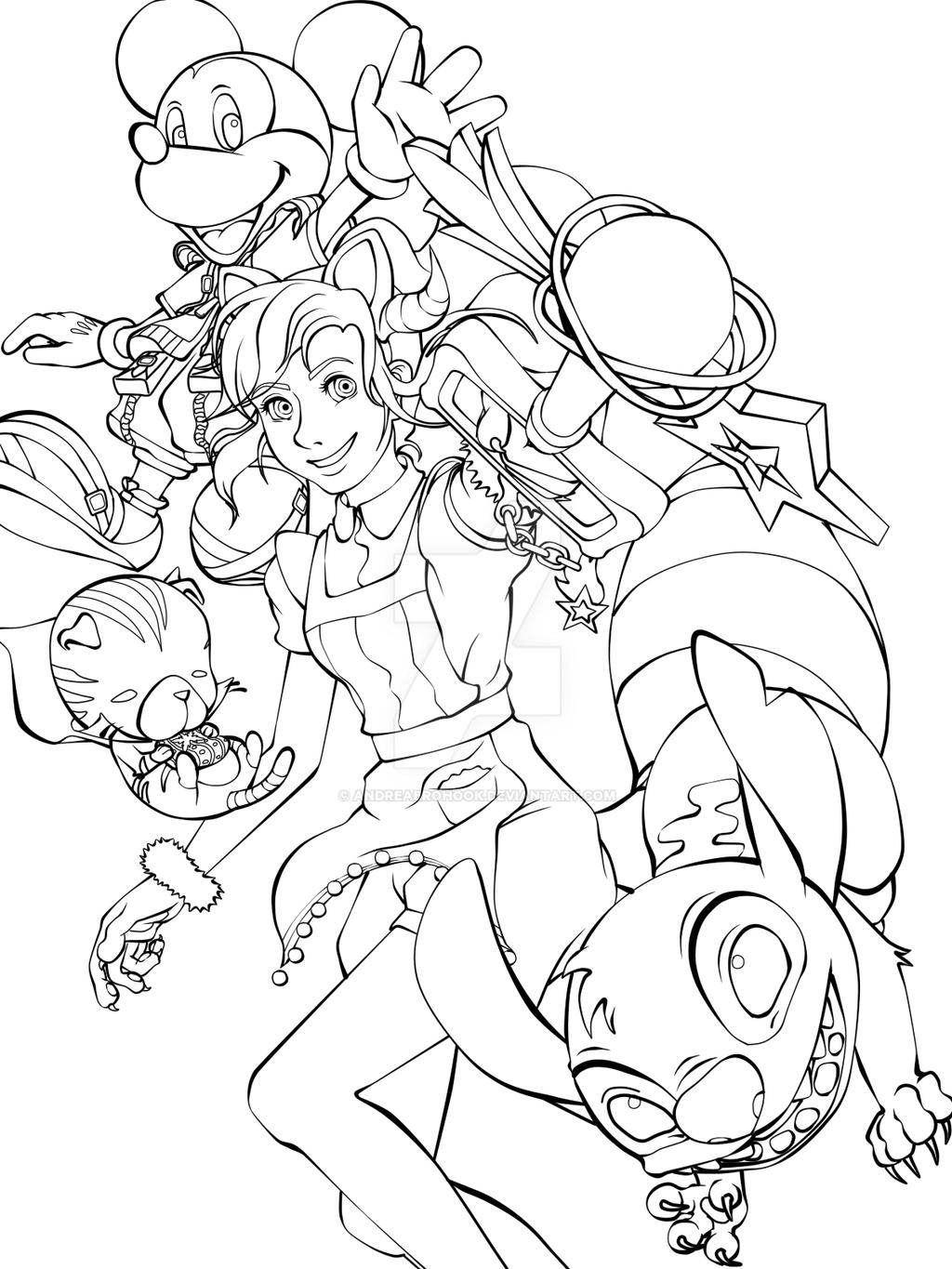 Kingdom Hearts Lineart : Kingdom hearts unchained lineart by andreabrohook on
