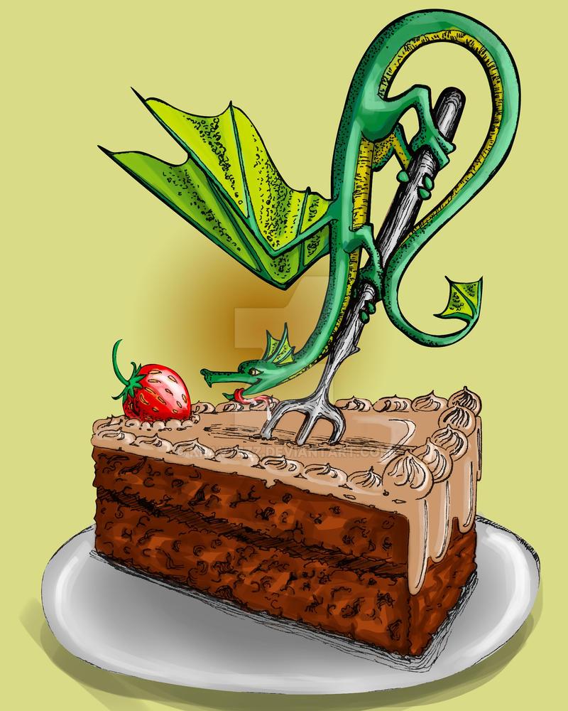 Dragon and cake by Krav1tzz