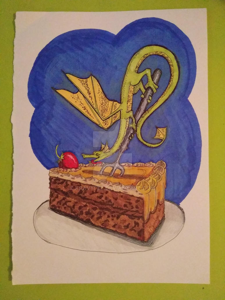 Dragon and cake traditional by Krav1tzz