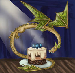 Dragon and blueberry cake
