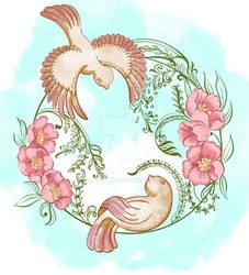 Bird's And Flowers