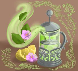 Teapot with flower and mint