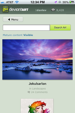New Deviantart Mobile Site  Front Page By Danlev-d by ikazon