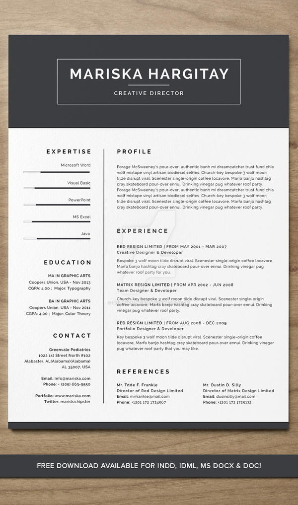 High End Free Resume Cv For Word Indd By Snipescientist