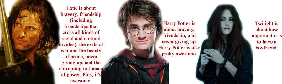 LotR vs. Harry Potter vs. Twil by Hex-Reinette