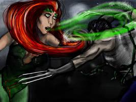 Poison Ivy vs. Wolverine by Zeitzeugin