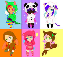 Mane 6 humanised chibis by Watermelomadness