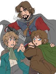 Scared Hobbits by kheelan