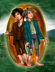 Frodo and Pippin by kheelan
