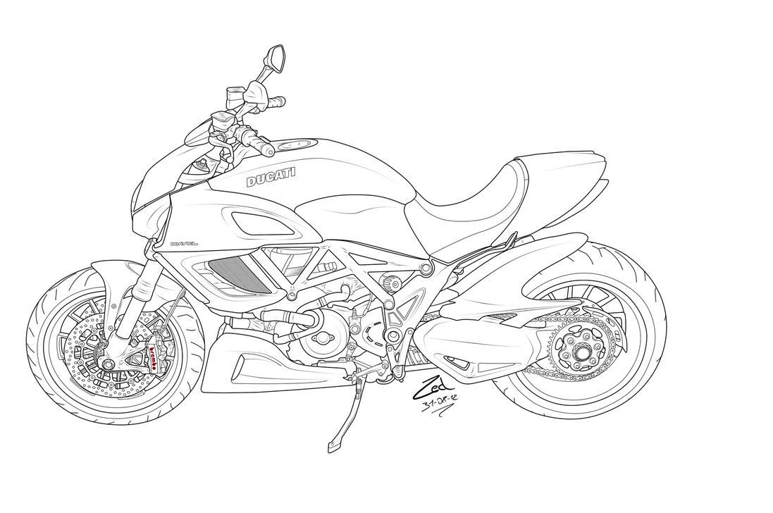 Line Drawing Monster : Ducati diavel lineart by zed on deviantart