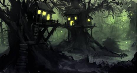Treehouses in the marshland speedpaint