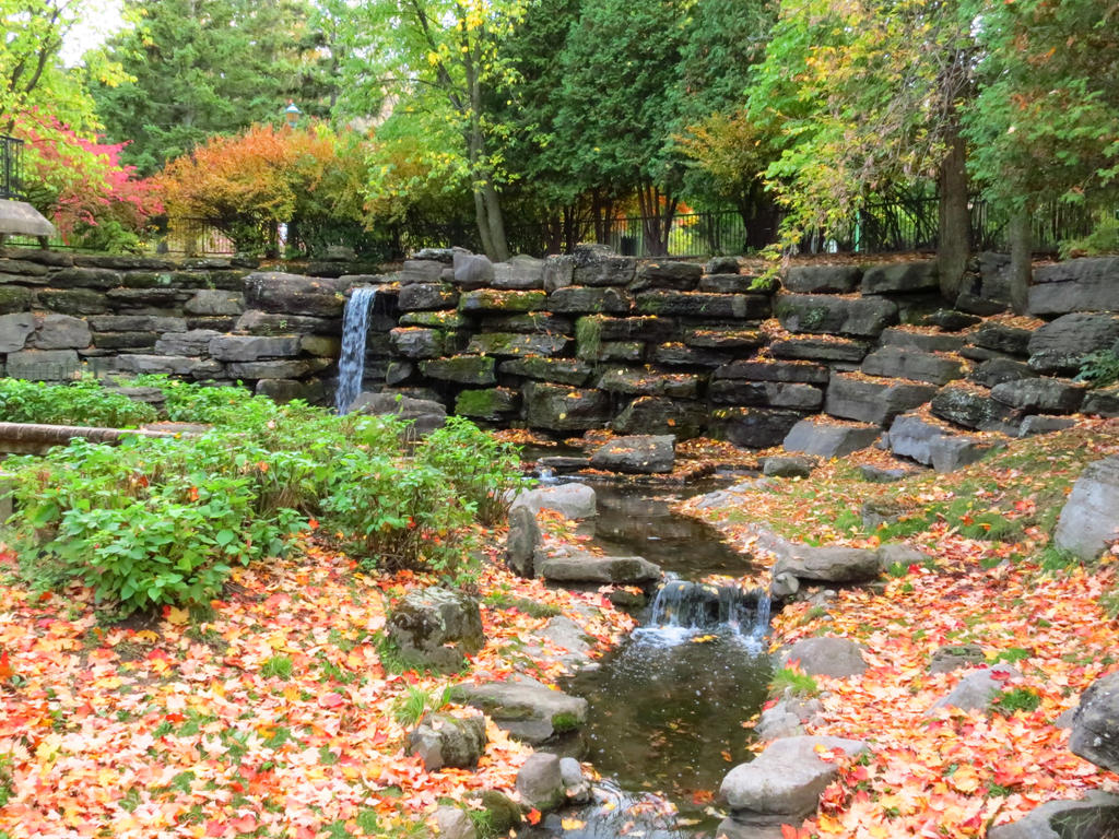 Waterfall in Autumn by Kitteh-Pawz