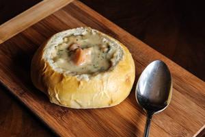 Fish Chowder in a Bread Bowl