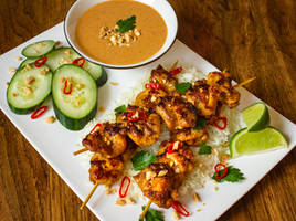 Thai Chicken Satay with Peanut Sauce by Kitteh-Pawz