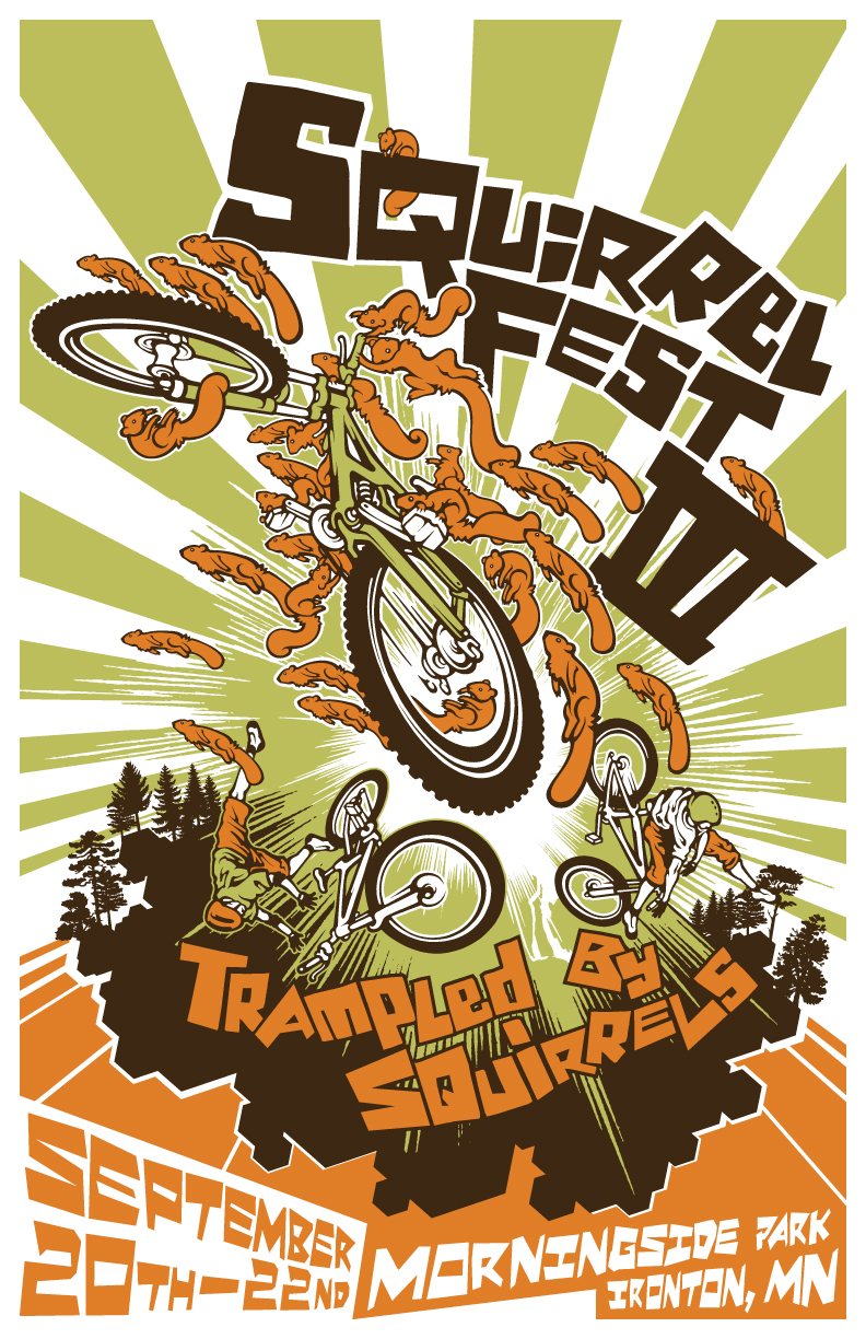 T shirt poster design -  Squirrel Fest 3 Poster T Shirt Design By Pseudo Manitou