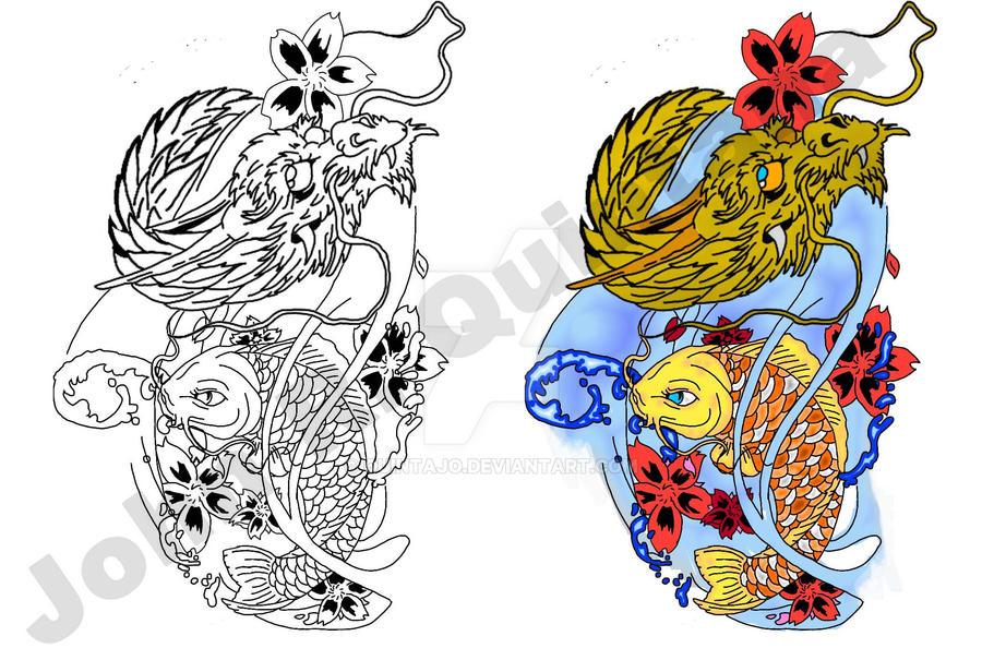 Koi Fish Dragon Art Koi Fish And Dragon by