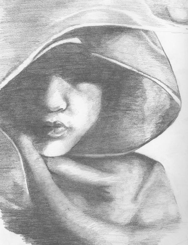 how to draw a hooded person