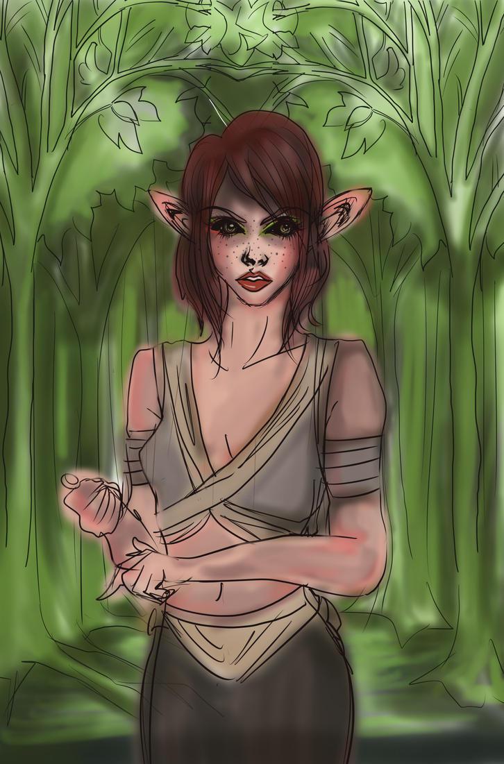 Elf of  Ebonwind2000 color draft bg 2 by Clchriskl